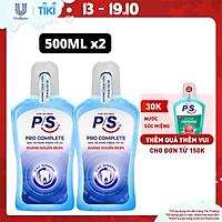 Bộ 2 Nước súc miệng P/S Pro Complete Bảo vệ tối ưu 500ml giúp kháng khuẩn 99.9% không chứa cồn