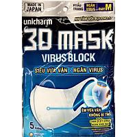 Khẩu Trang Unicharm 3D Mask Virus Block Ngăn Virus (Gói)