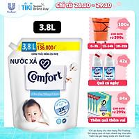 Nước xả làm mềm vải 3.8L Comfort Chăm sóc dịu nhẹ Cho da nhạy cảm, phù hợp với em bé Công thức riêng dịu nhẹ sử dụng nguyên liệu chính từ 100% nguồn gốc thực vật để sản xuất hoạt chất làm mềm vải