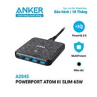 Adapter Sạc 4 Cổng Anker PowerPort Atom III Slim 65W PIQ 3.0 & GaN Tích Hợp USB Type-C Hỗ Trợ Sạc Nhanh - A2045 - Hàng Chính Hãng