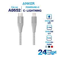 Dây Cáp Sạc USB - Type C To Lightning Chuẩn MFi Cho iPhone Anker PowerLine+ II 0.9m - A8652 - Hàng Chính Hãng