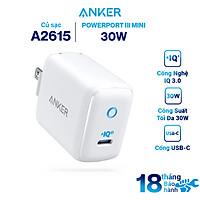 Adapter Sạc 1 Cổng USB Type-C Anker PowerPort III Mini 30W Hỗ Trợ Power IQ 3.0 - A2615 - Hàng Chính Hãng