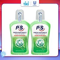 Bộ 2 Nước súc miệng P/S Fresh Naturals Trà xanh thơm mát 500ml giúp kháng khuẩn 99.9% không chứa cồn