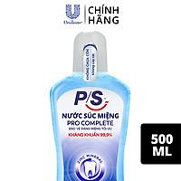Nước súc miệng P/S Pro Complete Bảo vệ tối ưu 500ml giúp kháng khuẩn 99.9% không chứa cồn
