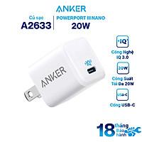 Adapter Sạc 1 Cổng Anker 18W / 20W PowerPort III Nano Tích Hợp PowerIQ 3.0 - Hàng Chính Hãng