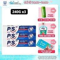 Combo 3 Kem Đánh Răng P/S Ngừa Sâu Răng Vượt Trội 240g lấp đầy các lỗ sâu li ti giúp răng chắc khỏe hơn 10X cho cả gia đình