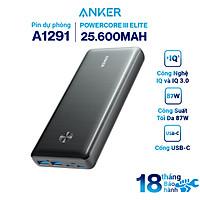 Pin Dự Phòng Anker PowerCore III Elite 25.600mAh Hỗ Trợ Sạc Nhanh Power Delivery PD 87W Tích Hợp USB Type-C In/Out (có hỗ trợ sạc macbook) - A1291 - Hàng chính hãng