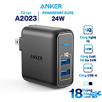 Adapter Sạc 2 Cổng Anker PowerPort Elite 24W - A2023 - Hàng Chính Hãng