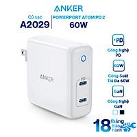 Adapter Sạc 2 Cổng USB Type-C 60W Anker PowerPort Atom PD 2 Tích Hợp Công Nghệ GaN - A2029 - Hàng Chính Hãng
