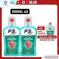 Bộ 2 Nước súc miệng P/S Active Defense Chuyên gia kháng khuẩn 500ml giúp kháng khuẩn 99.9% chỉ sau 30 giây