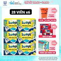Combo 6 Hộp Viên Rửa Chén Bát (28V/hộp) Sunlight 5 in 1 Cho máy rửa chén bát Công nghệ PureClean không để lại vêt ố