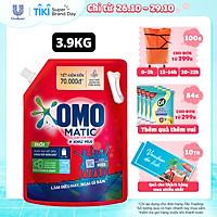 Nước giặt OMO Matic cho máy giặt cửa trên giúp quần áo sạch bẩn khử mùi toàn diện, túi 3.9kg