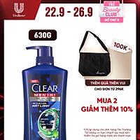 Dầu Tắm - Gội - Dưỡng Mát Lạnh 3 Trong 1 Cho Nam Clear Men Active Cool Mát Lạnh Bổ Sung Than Hoạt Tính 630g