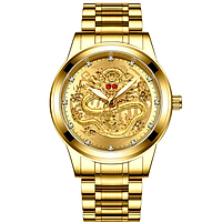 Đồng hồ nam FNGEEN mặt rồng mắt đá pha lê đỏ cao cấp dây hợp kim thép không gỉ