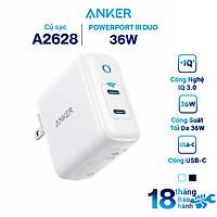 Adapter Sạc 2 Cổng USB Type-C Anker PowerPort III Duo 36W - A2628 - Hàng Chính Hãng