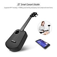Populele U2 23 Inch Smart Concert Ukulele Ukelele Uke Supports APP Teaching Function Carbon Fiber Body ABS Fretboard - Black