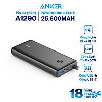 Pin Dự Phòng Anker PowerCore III Elite 25.600mAh Hỗ Trợ Sạc Nhanh PowerIQ 3.0 và PowerDelivery PD 60W Tích Hợp USB Type-C In/Out (có hỗ trợ sạc macbook) - A1290 - Hàng Chính Hãng
