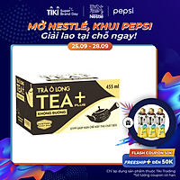 Thùng 24 Chai Olong Không Đường Tea+ (455ml x24 Chai)