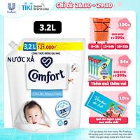 Nước xả làm mềm vải 3.2L Comfort Chăm sóc dịu nhẹ Cho da nhạy cảm, phù hợp với em bé Công thức riêng dịu nhẹ sử dụng nguyên liệu chính từ 100% nguồn gốc thực vật để sản xuất hoạt chất làm mềm vải