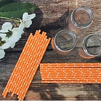 Combo 500 ống hút giấy phi 6x197mm họa tiết sao cam dùng cho nước ép, trà, cà phê sản xuất tại Việt Nam