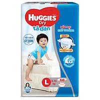 Tã Dán Huggies Dry Gói Cực Đại L68 (68 Miếng) - Bao Bì Mới