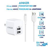 Combo Sạc Cho iPhone Anker 12W 2 cổng A2620 + Cáp Lightning A8432H11 0,9m Chuẩn MFi - Hàng Chính Hãng