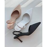 Sandal bít mũi trơn quai chun gót nhọn - 7P