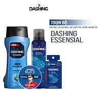 Trọn bộ Dashing: Dầu gội Dynamic 180g & Xịt khử mùi Cool Aqua 125ml & Nước hoa Cool Aqua 18ml & Sáp vuốt tóc Revo 75g