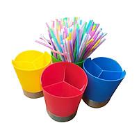 Combo 1 giá để ống hút màu ba ngăn và 4 gói ống hút xoắn nghệ thuật