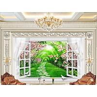 Tranh dán tường 3d cửa sổ con đường hoa ép lụa kim sa có sẵn keo cs65