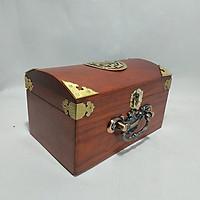 Hộp đựng con dấu - hộp đựng trang sức gỗ hương khum chữ thọ bịt đồng 4 góc đẹp mắt