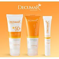 Combo 3 sản phẩm Ngừa Mụn Sáng Da sau mụn Decumar Advanced THC White (Gel mụn thâm + Gel rửa mặt sáng da+ Kem chống nắng phù hợp mọi loại da)