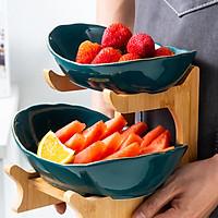 Bộ đĩa sứ giá gỗ đựng bánh mứt hoa quả, khay đựng bánh kẹo Tết 3 tầng, 2 tầng - xanh