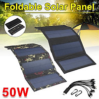 50W 10 in 1 Portable Waterproof Folding Solar Panel Power Charger Camping Travel USB 5V For Phone/Portable Digital Dev