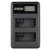 Bộ Sạc Pin Li-ion Hai Khe Màn Hình LED Andoer  Kèm Cáp USB Cho Máy Ảnh Canon Rebel T3i T5i T4i T2i EOS 600D 550D 700D 650D Kiss X5 X4 (LP-E8)