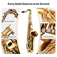 ammoon Bb Tenor Saxophone Sax Brass Body Gold Lacquered Surface Woodwind Instrument with Carry Case Gloves Cleaning