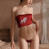 Đồ ngủ khiêu gợi Set áo yếm thêu hoa đỏ quyến rũ sexy