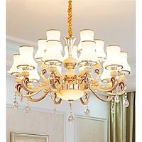 Đèn chùm SINOPAC phong cách châu Âu trang trí nội thất sang trọng hiện đại 15 tay - kèm bóng LED chuyên dụng.