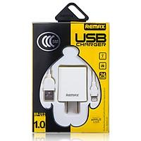 Bộ combo củ cóc sạc và dây sạc Lightning hiệu Remax cho điện thoại iPhone iPad - Hàng chính hãng