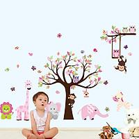 decal dán tường cho bé voi và thú hồng 2 mảnh al301