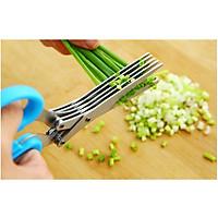 Kéo cắt hành thức ăn 5 lưỡi (màu ngẫu nhiên)