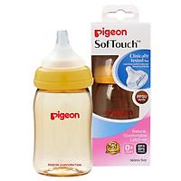 Bình sữa Pigeon cổ rộng PPSU PLUS (  Tặng 01 lục lạc gỗ phát tiếng vui nhộn cho bé )