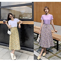 Chân váy hoa midi sang trọng thích hợp mặc dạo phố hoặc đi làm