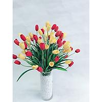 Bình hoa tulip lụa nghệ thuật cao cấp tươi tắn tô điểm không gian rực rỡ