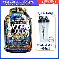 Sữa tăng cơ Nitro Tech Casein Gold Hộp 5lbs (~2.27kg) – Bổ sung Protein hấp thụ chậm trải dài 8h, giúp nuôi dưỡng phát triển cơ bắp ban đêm - Hàng chính hãng Muscletech USA