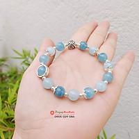 Vòng tay đá thạch anh Aquamarine 8ly mix bạc dành cho Nữ -  đá Non Nước