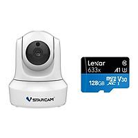 Combo Camera Wifi IP C29s 2.0 FHD 1080p Vstarcam , Camera không dây trong nhà (Trắng Bạch Tuyết ) , Kèm thẻ nhớ 128GB A1 4K Lexar - Hàng chính hãng