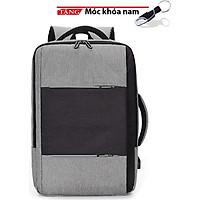 Balo cặp laptop Hàn quốc có sạt phản quan Đen Xám Phối chống nước kép vào vali M34 Tặng móc khóa nam