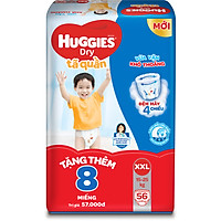 Tã Quần Huggies Dry Gói Cực Đại XXL56 (56 Miếng) - Tặng Thêm 8 Miếng