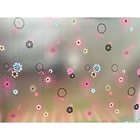 Decal dán kính hoa cúc hồng - có sẵn keo - dán phòng khách - phòng ngủ - phòng bếp DK48